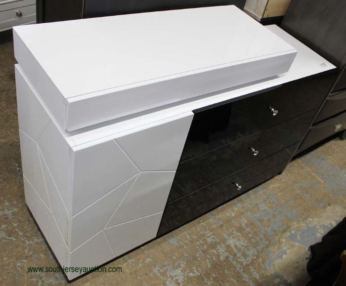 NEW Cool Modern Design Black and White Lacquer Style Chest  Located Inside – Auction Estimate $200-$400