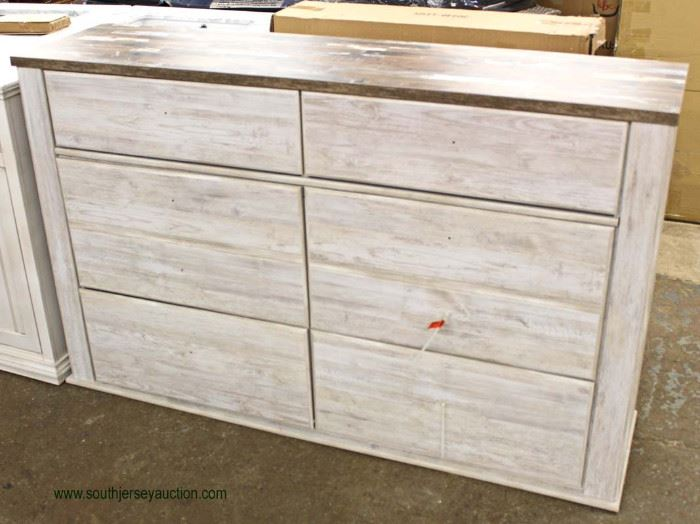 """NEW Contemporary """"Signature Design by Ashley"""" White Wash 6 Drawer Low Chest  Located Inside – Auction Estimate $100-$300"""