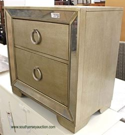 """NEW Contemporary """"Pulaski Furniture"""" 2 Drawer Decorator Night Stand with Mirror Accents  Located Inside – Auction Estimate $50-$100"""