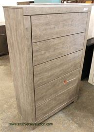 """NEW Contemporary """"Signature Design by Ashley"""" 5 Drawer White Washed High Chest  Located Inside – Auction Estimate $100-$300"""