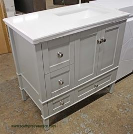 """NEW Contemporary 37""""Marble Top Grey Base Bathroom Vanity  Located Inside – Auction Estimate $200-$400"""