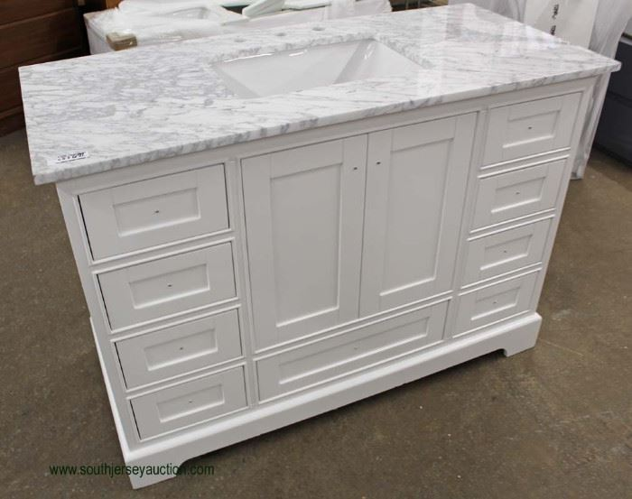 NEW Contemporary Marble Top White Base Bathroom Vanity  Located Inside – Auction Estimate $200-$400