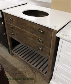 """NEW Contemporary 72"""" Marble Top Barn Wood Style Bathroom Vanity with Faucets  Located Inside – Auction Estimate $200-$400"""