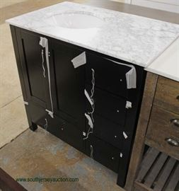 New Contemporary Marble Top Black Base Bathroom Vanity  Located Inside – Auction Estimate $200-$400