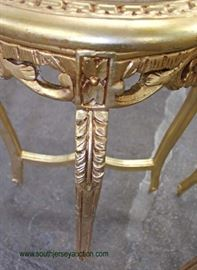 PAIR of French Style Marble Top Gold Painted Carved Stands  Located Inside – Auction Estimate $100-$300