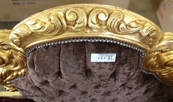 French Style Carved Gold Painted Base Upholstered Chaise Lounge  Located Inside – Auction Estimate $100-$300