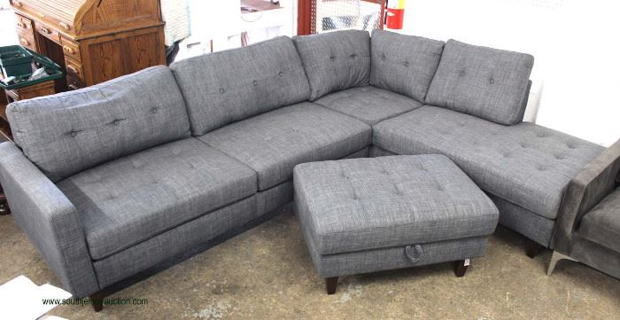 NEW Contemporary 5 Section Upholstered Button Tufted Sectional  Located Inside – Auction Estimate $300-$600