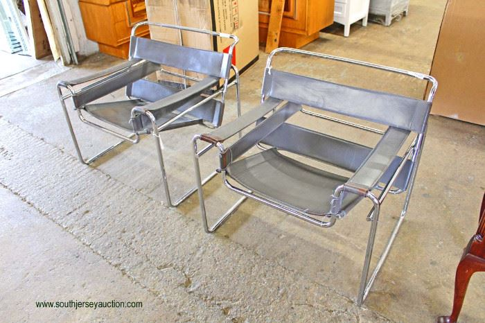 PAIR of Leather and Chrome Modern Design Arm Chairs  Located Inside – Auction Estimate $200-$400