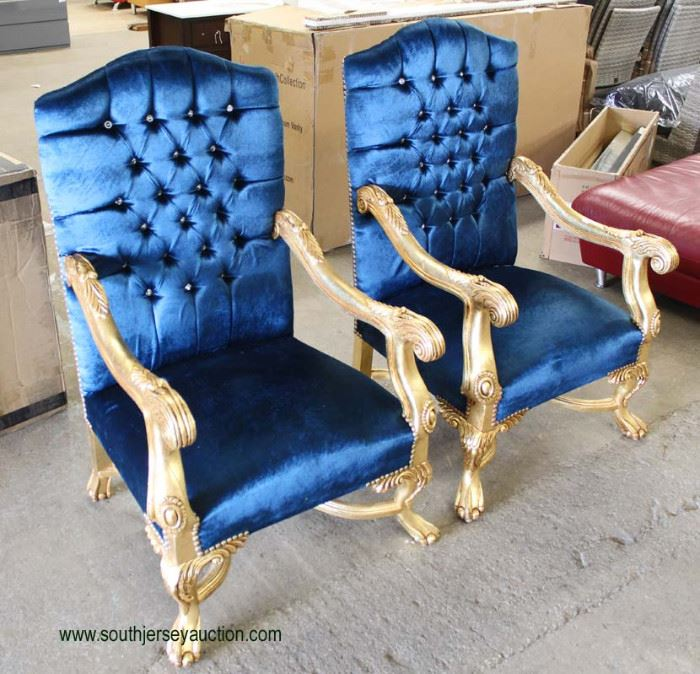 PAIR of French Style Blue Upholstered Button Tufted Gold Painted Carved Frame Arm Chairs  Located Inside – Auction Estimate $200-$400