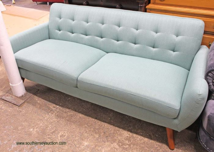 NEW Contemporary Modern Design Upholstered Button Tufted Sofa  Located Inside – Auction Estimate $200-$500