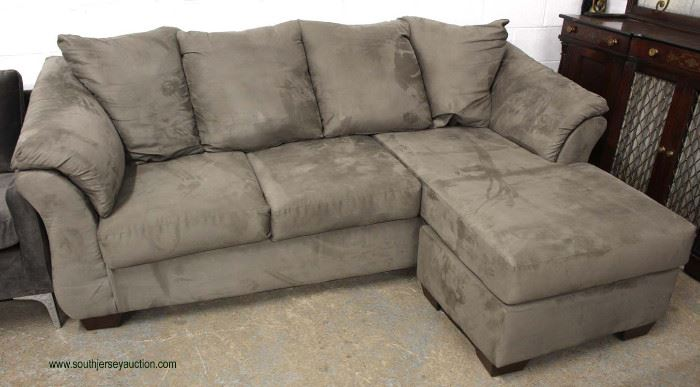 NEW Contemporary 2 Section Grey Upholstered Sectional  Located Inside – Auction Estimate $300-$600