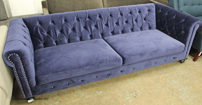 NEW Blue Contemporary Button Tufted Upholstered Sofa  Located Inside – Auction Estimate $300-$600
