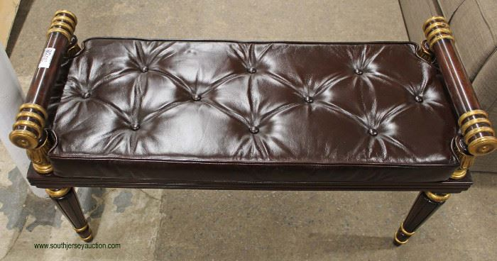 NEW Contemporary Decorator Leather Style Button Tufted Window Bench  Located Inside – Auction Estimate $100-$200