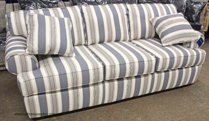 """NEW """"Birch Lane"""" Contemporary Sofa with Decorator Pillows  Located Inside – Auction Estimate $200-$400"""