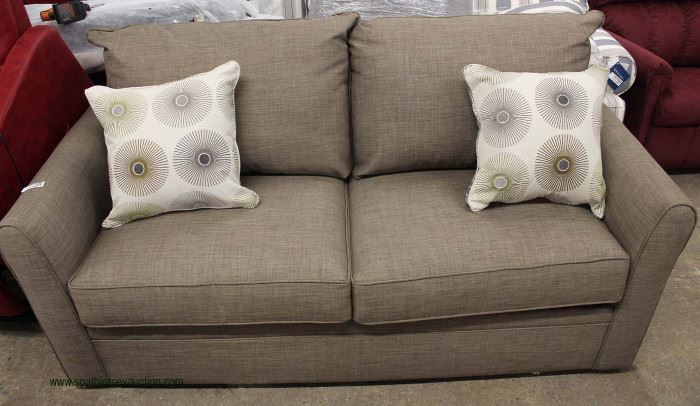 NEW Contemporary Tan Sofa with Decorator Throw Pillows  Located Inside – Auction Estimate $300-$600
