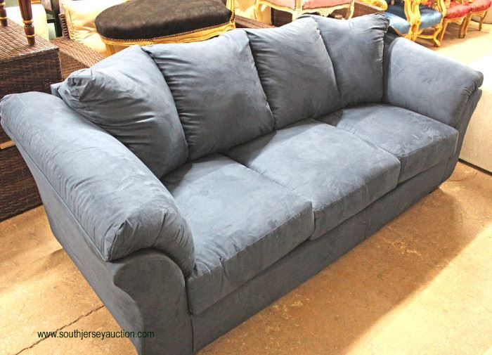 """NEW """"Signature Design by Ashley"""" Blue Upholstered Sofa  Located Inside – Auction Estimate $300-$600"""