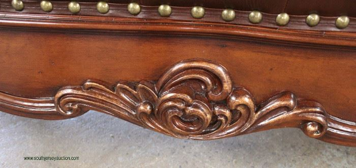 NEW Contemporary Mahogany Carved Frame Leather Like Button Tufted End of the Bed Bench  Located Inside – Auction Estimate $200-$400