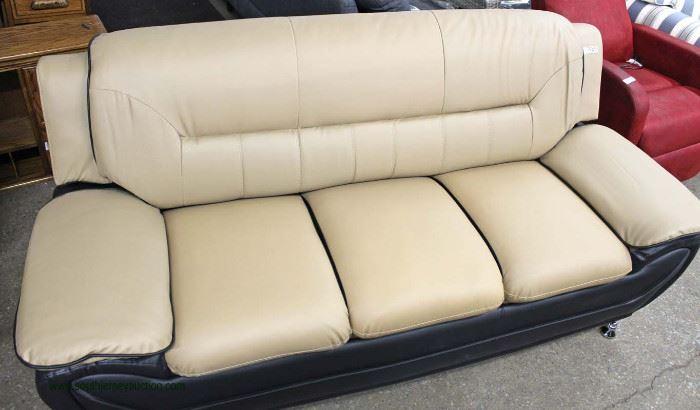 NEW Contemporary Leather Modern Design Sofa  Located Inside – Auction Estimate $300-$600