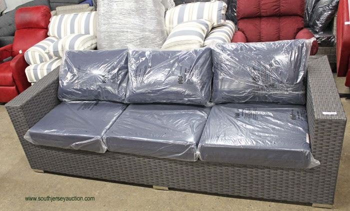 NEW Contemporary Resin Wicker Style Sofa - Outdoor Patio, Porch, Yard or Garden  Located Inside – Auction Estimate $200-$400