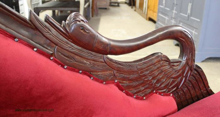 Mahogany Swan Carved Frame Upholstered Chaise Lounge  Located Inside – Auction Estimate $200-$400