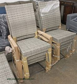 NEW 14 Piece Resin Wicker Style Patio Conversation Set with Self Storage for Cushions includes,  2 Chairs and Ottomans, Sofa, Coffee Table, 8 Chairs all with Cushions and Covers for Storing for your patio, porch, yard or garden!  Located Inside – Auction Estimate $500-$1000