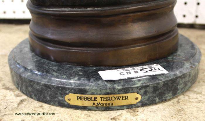"Bronze Cherub Statue ""Pebble Thrower"" A. Moreau  Located Inside – Auction Estimate $200-$400"