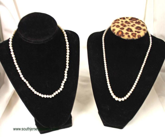 Selection of Marked 14 Karat Gold Clasp Pearl Necklaces  Auction Estimate $200-$500 – Located Inside