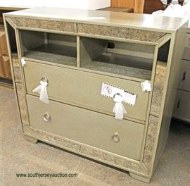 NEW Contemporary Decorator 2 Drawer Media Console with Mirror Accents  Auction Estimate $200-$400 – Located Inside