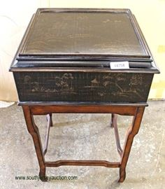 """Decorator """"Ethan Allen Furniture"""" Mahogany Base Lift Top Stand  Auction Estimate $100-$200 – Located Inside"""