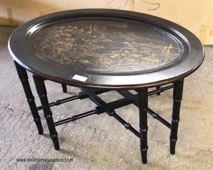 """Decorator """"Ethan Allen Furniture"""" Oval Serving Table  Auction Estimate $100-$200 – Located Inside"""