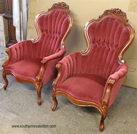 PAIR of Upholstered Mahogany Frame Victorian Style Arm Chairs  Auction Estimate $100-$300 – Located Inside