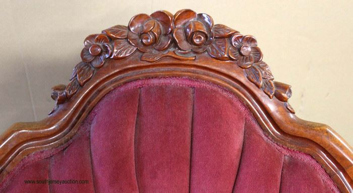 PAIR of Upholstered Mahogany Frame Victorian Style Arm Chairs  Auction Estimate $100-$300 – Located Inside     PAIR of Upholstered Mahogany Frame Victorian Style Arm Chairs  Auction Estimate $100-$300 – Located Inside