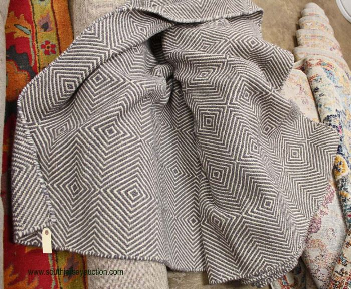 SOFIA made in India 80% Wool 20% Cotton Flat Woven Grey 10' x 14' Large Rug  Located Inside – Auction Esitmate $     SOFIA made in India 80% Wool 20% Cotton Flat Woven Grey 10' x 14' Large Rug  Located Inside – Auction Esitmate $