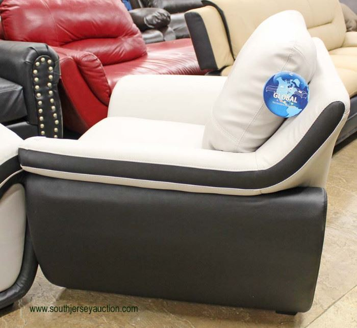 """NEW Contemporary """"Global"""" Leather Black and Grey Modern Design Sofa and Chair  Auction Estimate $400-$800 – Located Inside"""