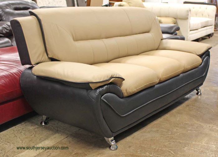 NEW Contemporary Leather Modern Design Tan and Black Sofa  Located Inside – Auction Estimate $300-$600