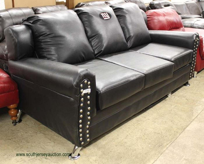 """NEW VERY COOL Contemporary Black Leather Monogram """"NY"""" Sofa  Auction Estimate $300-$600 – Located Inside"""