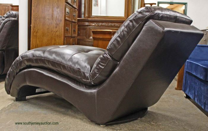 NEW Contemporary Brown Leather Chaise Lounge  Auction Estimate $200-$400 – Located Inside