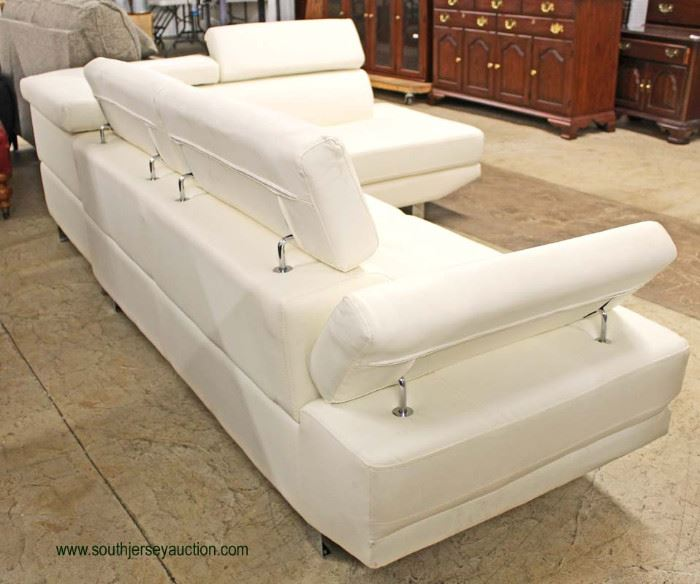NEW White Leather Contemporary Modern Design 2 Piece Sectional with Adjustable Head and Arm Rest  Auction Estimate $500-$1000 – Located Inside