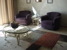 Purple Stuffed side chairs, Metal glass top end and coffee table, Large floor rug