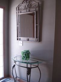 glass top hall table and mirror