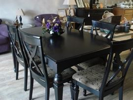 Black wood dining room table 6/chairs