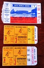 1961 and 1972 World Series ticket stubs