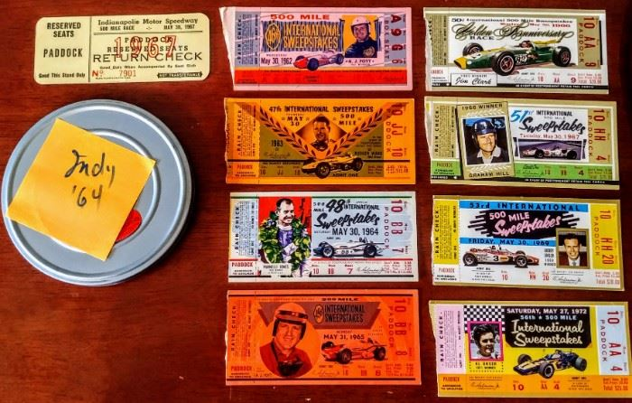 Indianapolis 500 ticket stubs:  1962-69 & 1972; 8mm film from 1964's race MAY contain Eddie Sachs and Dave McDonald fatal crash footage