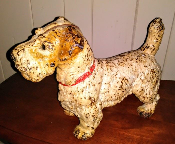 vintage cast-iron dog door stop
