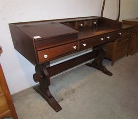 Pedestal desk in pine, with document case and multiple drawers