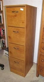 Contemporary filing cabinet, with solid wood exterior.