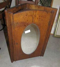 Vintage oak hanging corner cabinet.