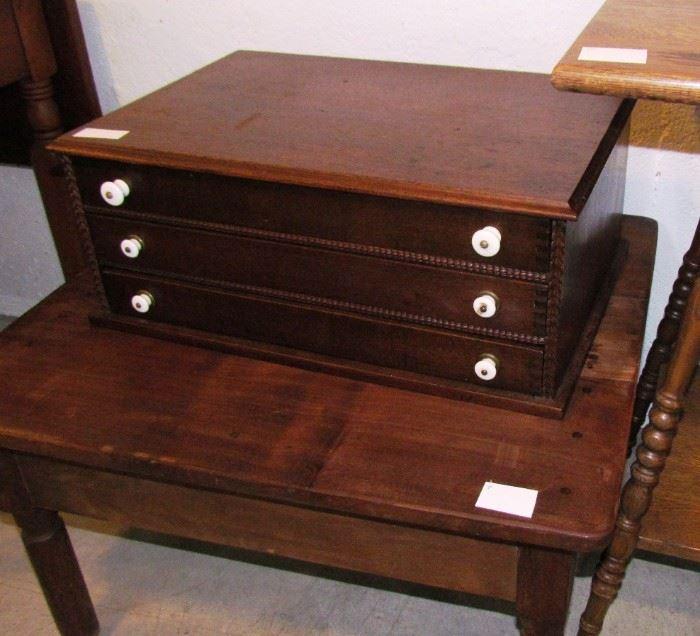 """Handsome """"thread cabinet"""" in hardwoods"""