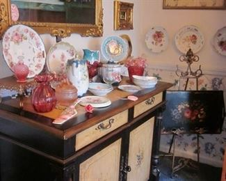 floral painted server & decorated china