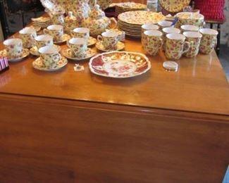 drop leaf dining table & chintz china dinnerware set
